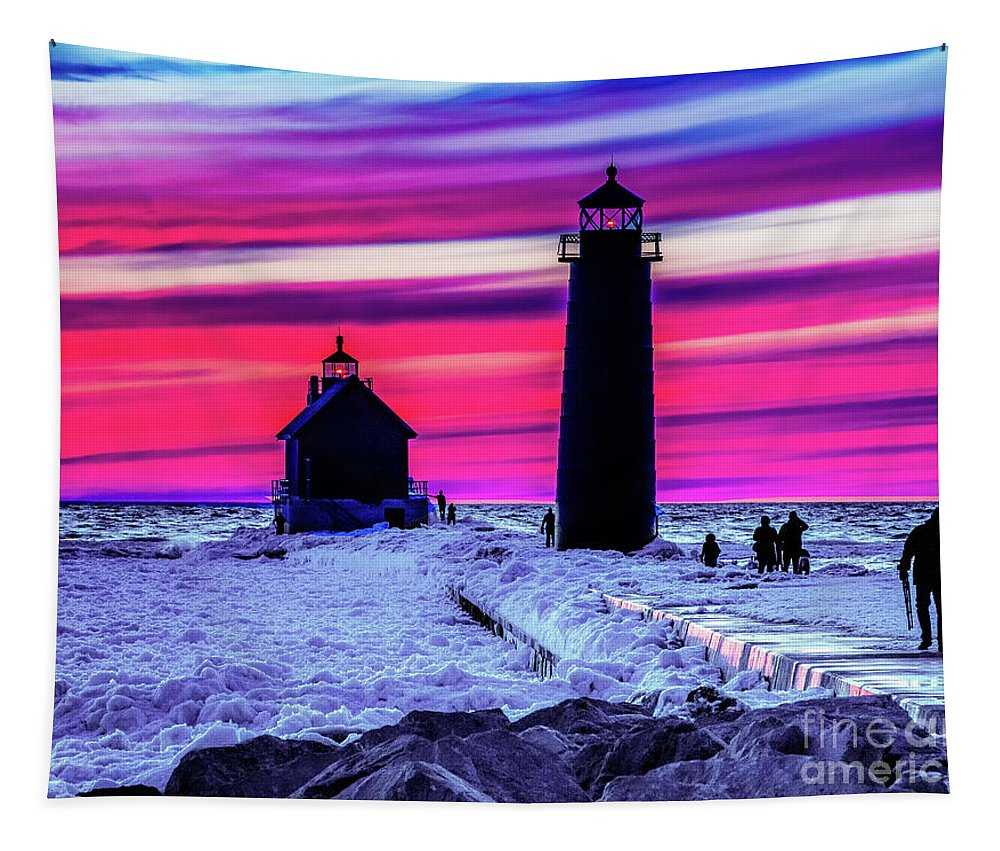 Grand Haven Tapestry featuring the photograph Sunset In Winter At Grand Haven Lighthouse by Nick Zelinsky