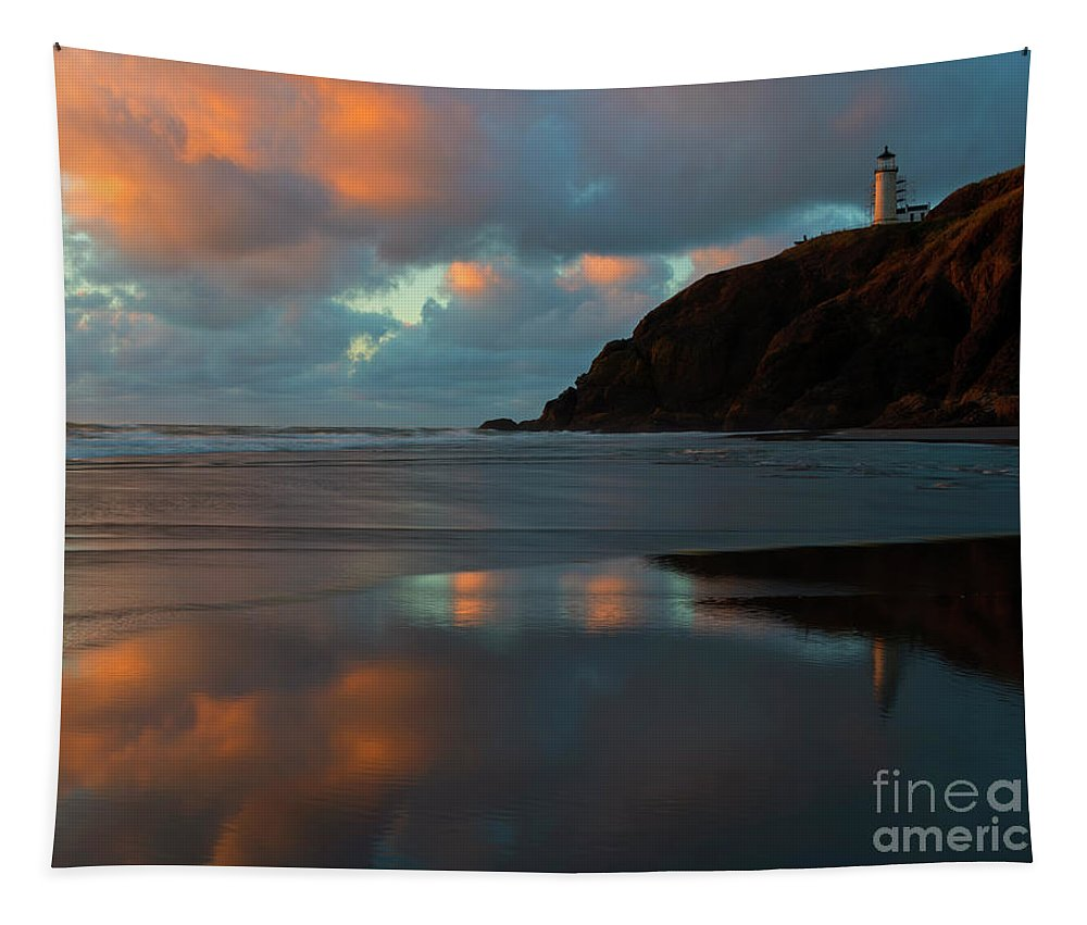 Lighthouse Tapestry featuring the photograph Sunset Light Reflections by Mike Dawson
