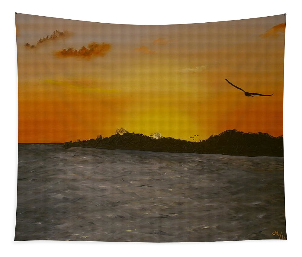 Seascape Tapestry featuring the painting Sunset 6 by Maria Woithofer