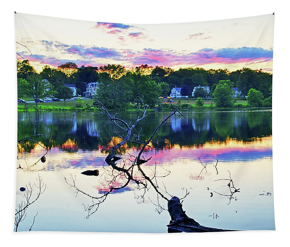 Haverhill Tapestry featuring the photograph Sunset On Kenoza Lake Haverhill Ma Reflection by Toby McGuire