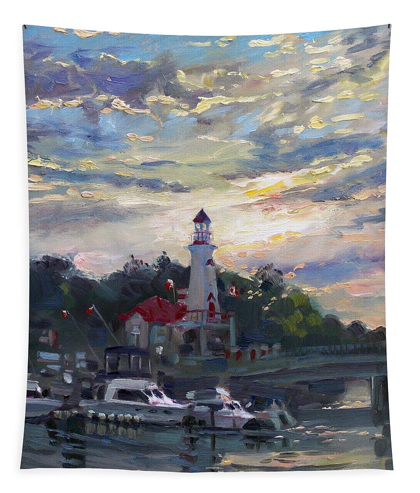 Sunset On Lake Shore Mississauga Tapestry featuring the painting Sunset On Lake Shore Mississauga by Ylli Haruni