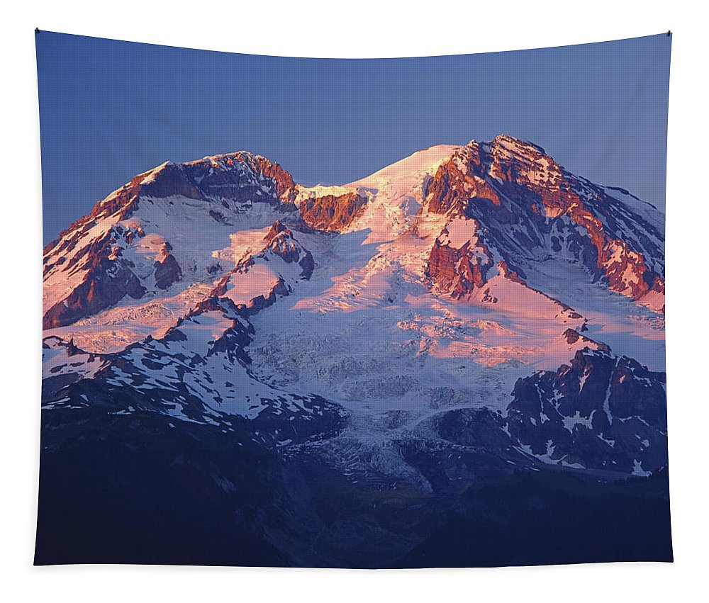 Sunset Tapestry featuring the photograph 1m4876-sunset On Mt. Rainier by Ed Cooper Photography