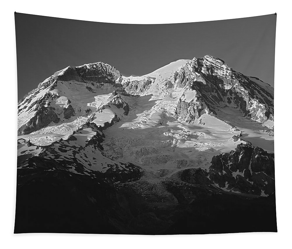 Sunset Tapestry featuring the photograph 1m4876-bw-sunset On Mt. Rainier Bw by Ed Cooper Photography