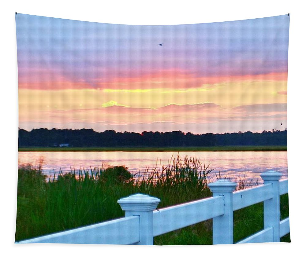 Sunset Tapestry featuring the photograph Sunset On The Indian River by Kim Bemis