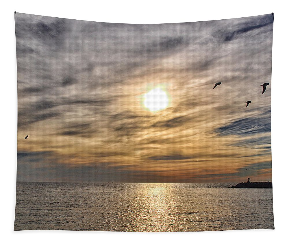Sunset Tapestry featuring the photograph Sunset Over Bay by Barbara Treaster