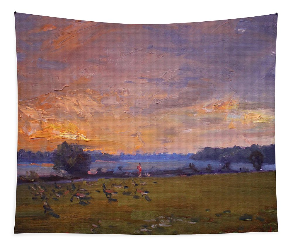 Sunset Tapestry featuring the painting Sunset Over Gratwick Park by Ylli Haruni