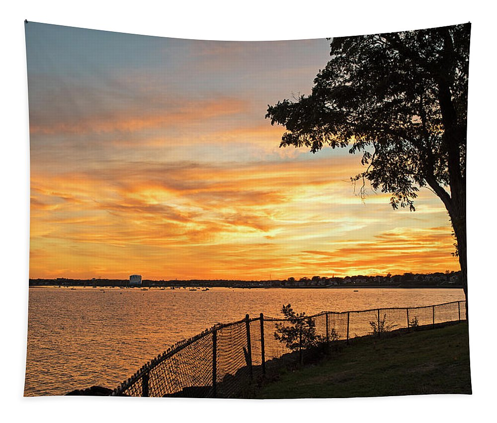 Lynch Tapestry featuring the photograph Sunset Over Lynch Park Beverly Ma Water Tower by Toby McGuire