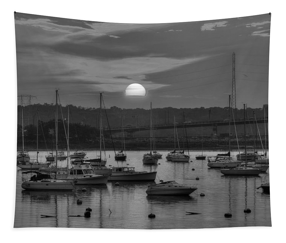 Salem Tapestry featuring the photograph Sunset Over Salem Harbor Salem Beverly Bridge Black And White by Toby McGuire