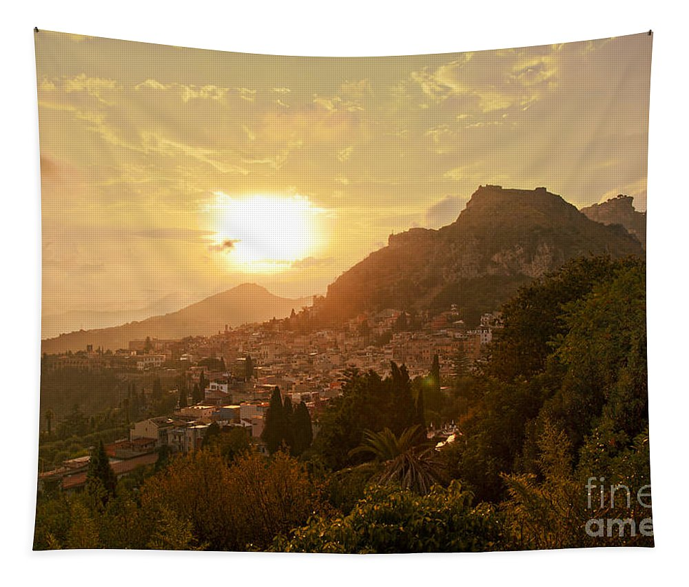 Sunset Tapestry featuring the photograph Sunset Over Sicily by Madeline Ellis