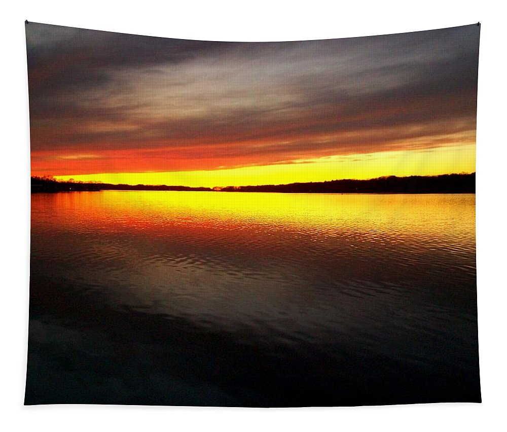 Gold Tapestry featuring the photograph Sunset Over The Lake by Michelle Calkins