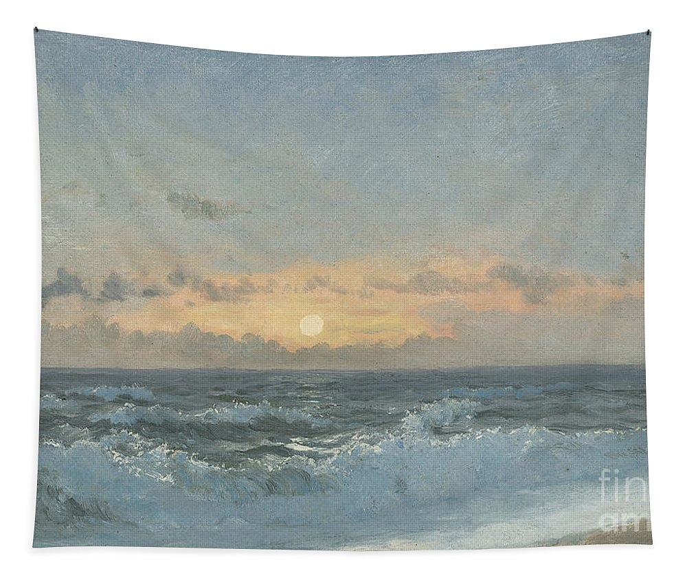 Seascape Tapestry featuring the painting Sunset over the Sea by William Pye