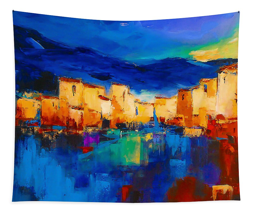 Cinque Terre Tapestry featuring the painting Sunset Over The Village by Elise Palmigiani