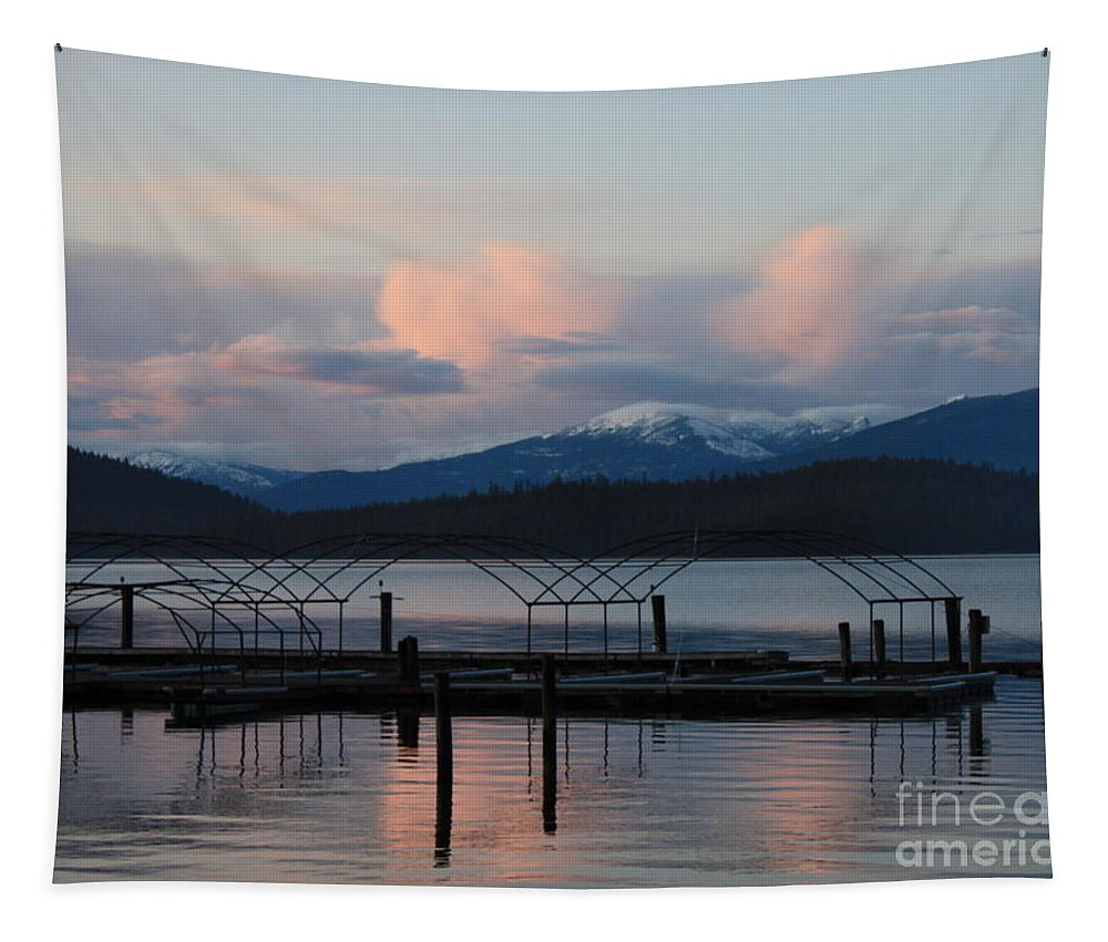 Priest Lake Tapestry featuring the photograph Sunset Reflecting Off Priest Lake by Carol Groenen