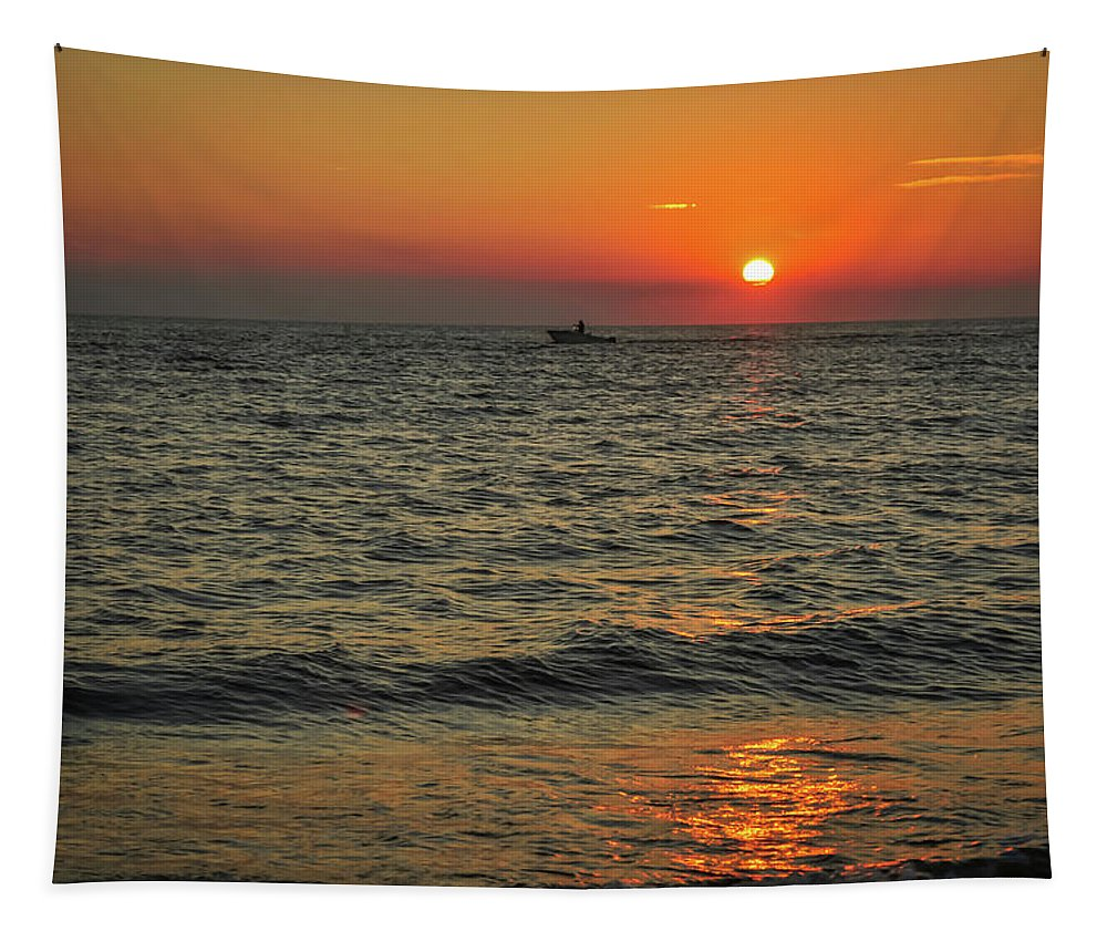 Terry D Photography Tapestry featuring the photograph Sunset Ride Cape May Point Nj by Terry DeLuco