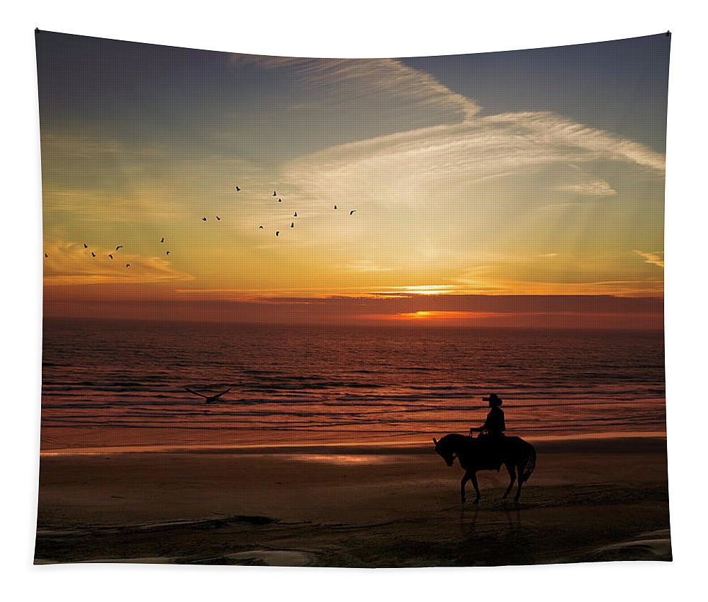 Sunset Tapestry featuring the photograph Sunset Ride by Diane Schuster