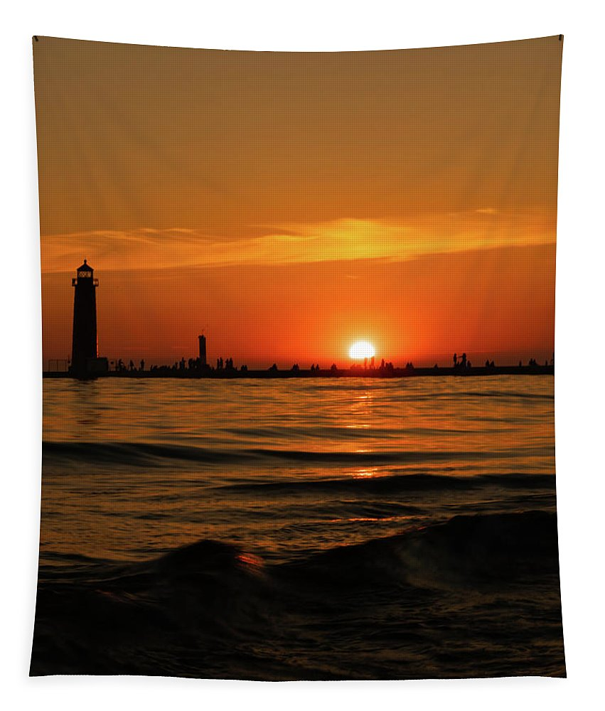 Sunset Silhouettes Tapestry featuring the photograph Sunset Silhouettes At Grand Haven Michigan by Dan Sproul