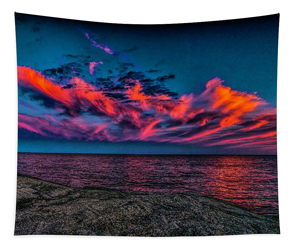 Atantic Coast Tapestry featuring the photograph Sunset Sky At East Point by Nick Zelinsky