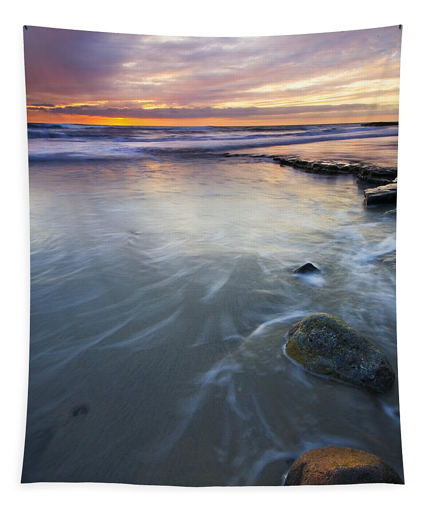 Seascape Tapestry featuring the photograph Sunset Storm by Mike Dawson