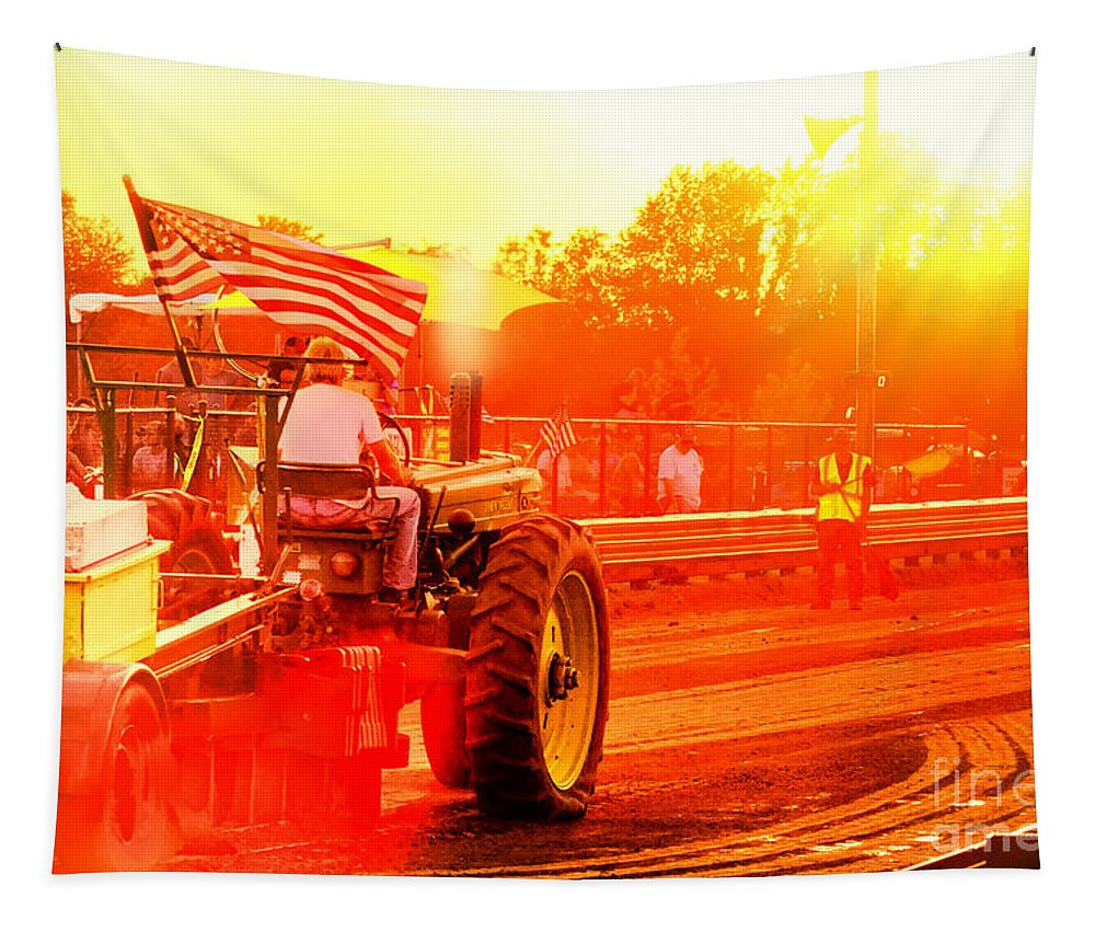 Tractor Tapestry featuring the photograph Sunset Tractor Pull by Olivier Le Queinec