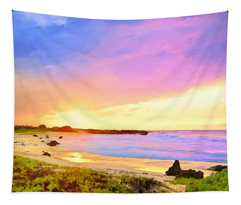 Sunset Tapestry featuring the painting Sunset Walk by Dominic Piperata