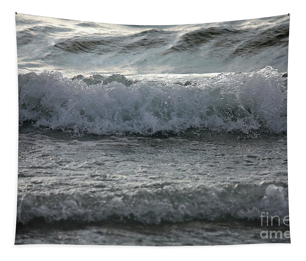 Water Tapestry featuring the photograph Sunset Waves by Carol Groenen