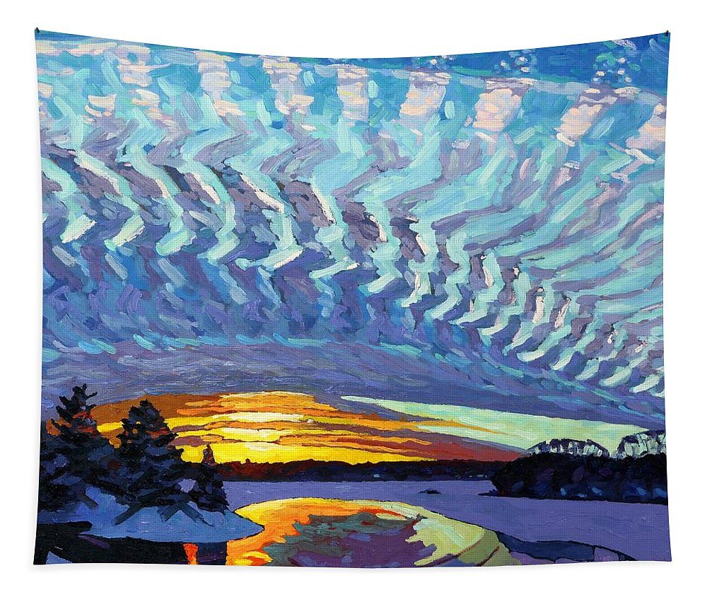 1717 Tapestry featuring the painting Sunset Waves Nite by Phil Chadwick