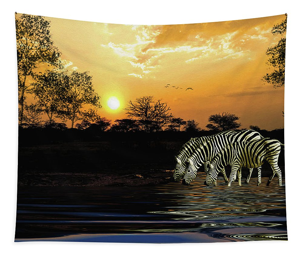 Zebras Tapestry featuring the digital art Sunset Zebras At The Watering Hole by Diane Schuster