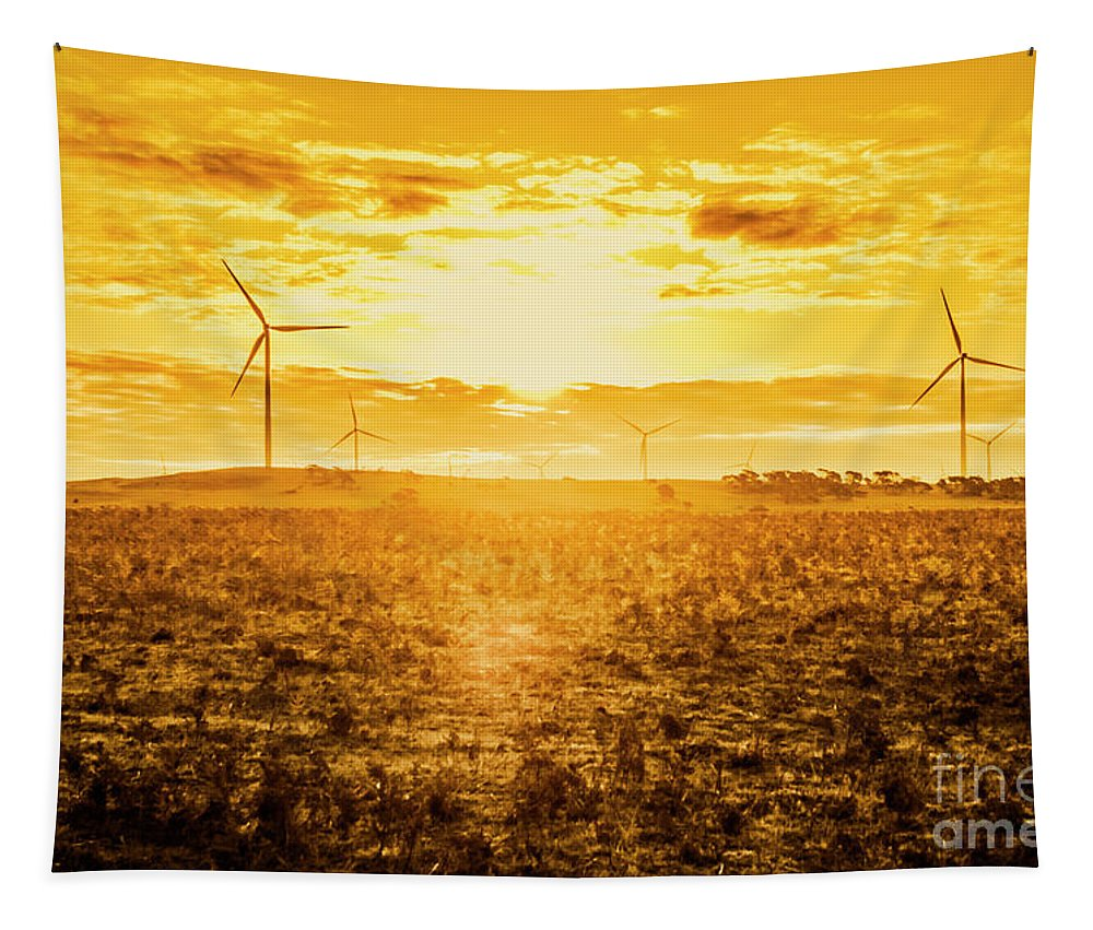 Tasmania Tapestry featuring the photograph Sunsets And Golden Turbines by Jorgo Photography - Wall Art Gallery