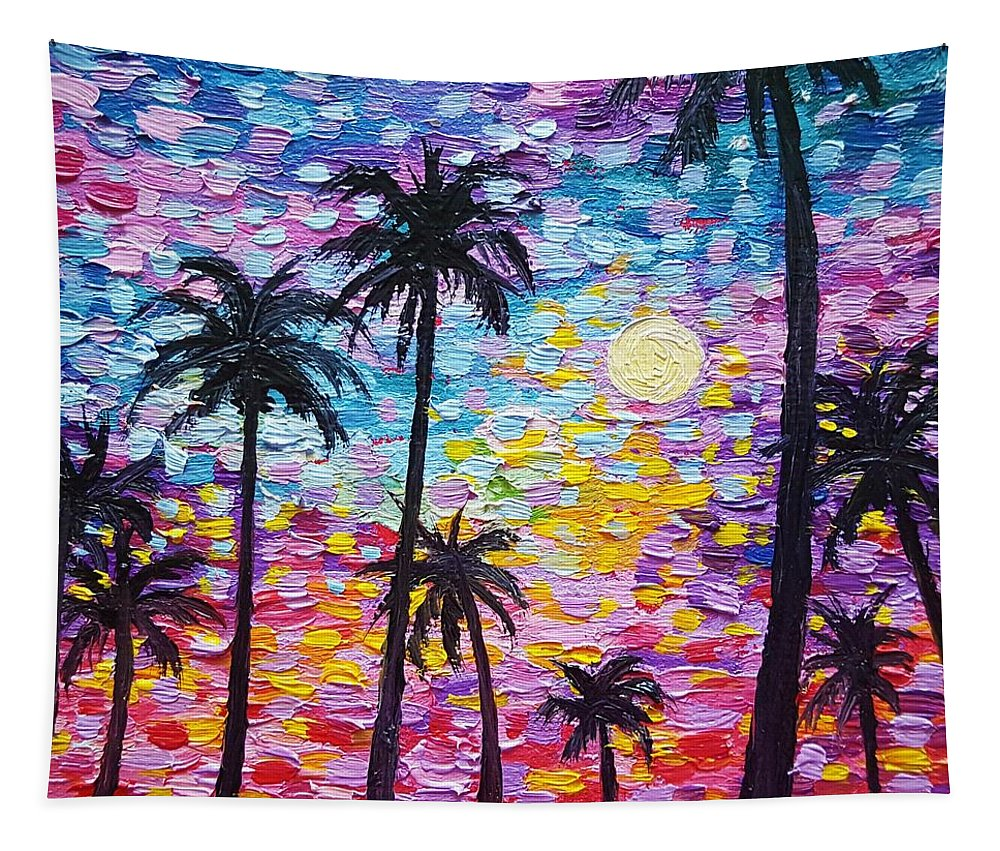 Nature Tapestry featuring the painting Sunsets In Florida by Jessica T Hamilton