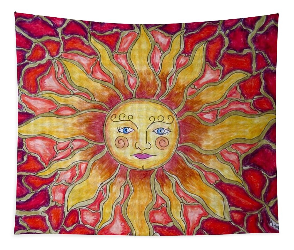 Sun Tapestry featuring the drawing Sunshine by Megan Walsh