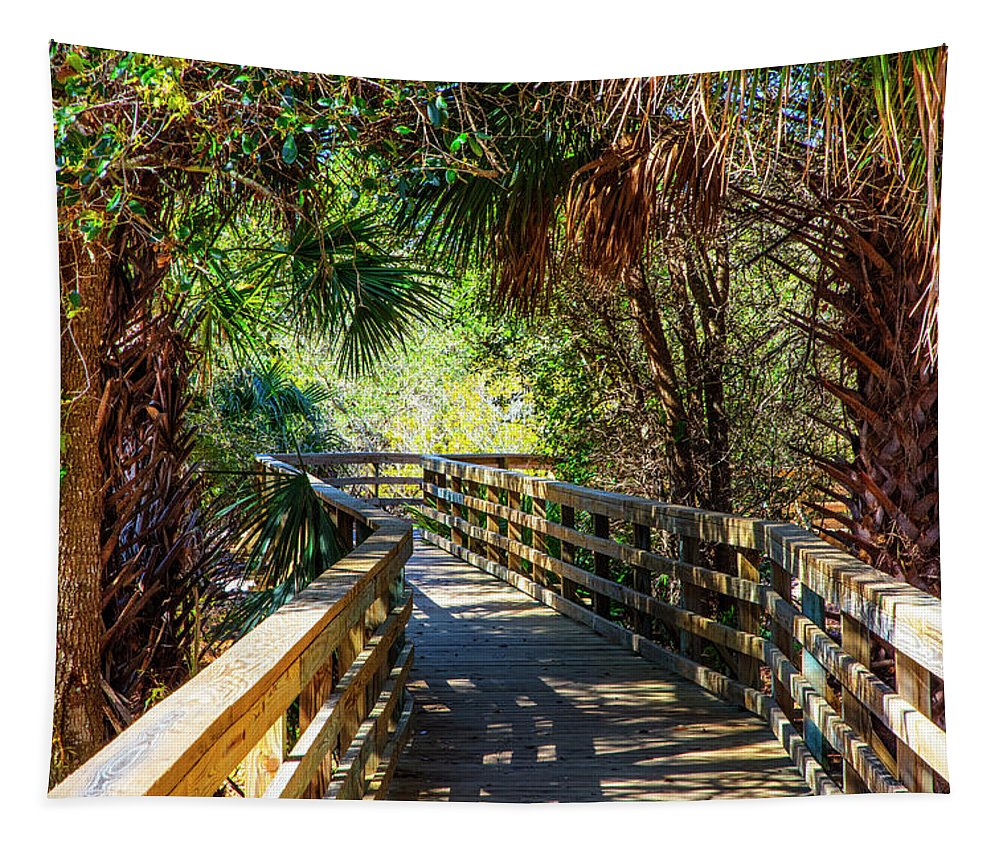 Everglades Tapestry featuring the photograph Sunshine On The Boardwalks by Debra and Dave Vanderlaan