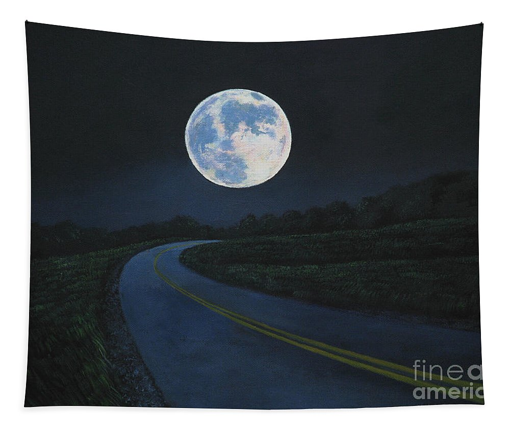 Super Moon Tapestry featuring the painting Super Moon At The End Of The Road by Christopher Shellhammer