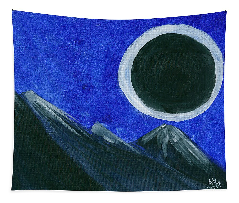 Abstract Tapestry featuring the painting Super Moon Eclipse by Alexis Grone