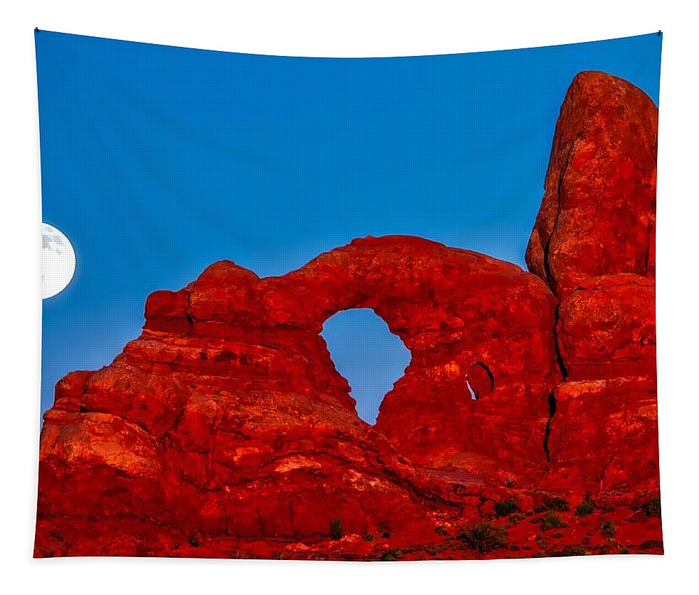 Arches National Park Tapestry featuring the photograph Super Moon Over Arches National Park by Jacob Frank