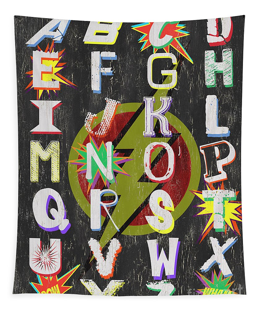 Alphabet Tapestry featuring the painting Superhero Alphabet by Debbie DeWitt