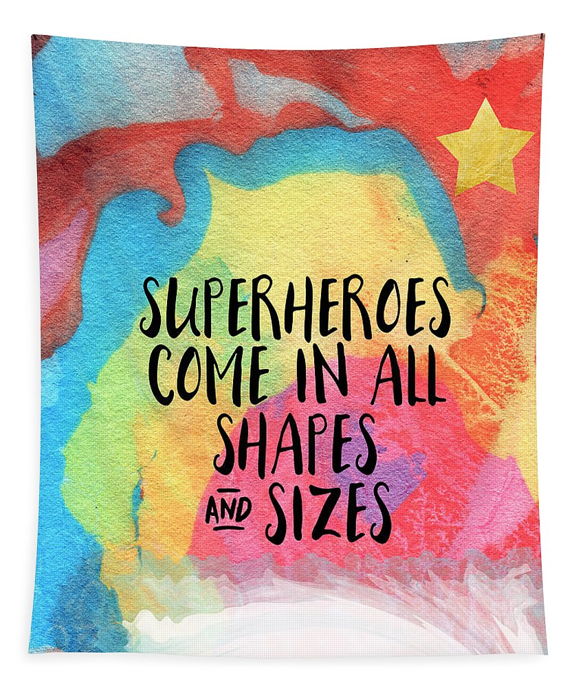 Inspirational Tapestry featuring the painting Superheroes- inspirational art by Linda Woods by Linda Woods