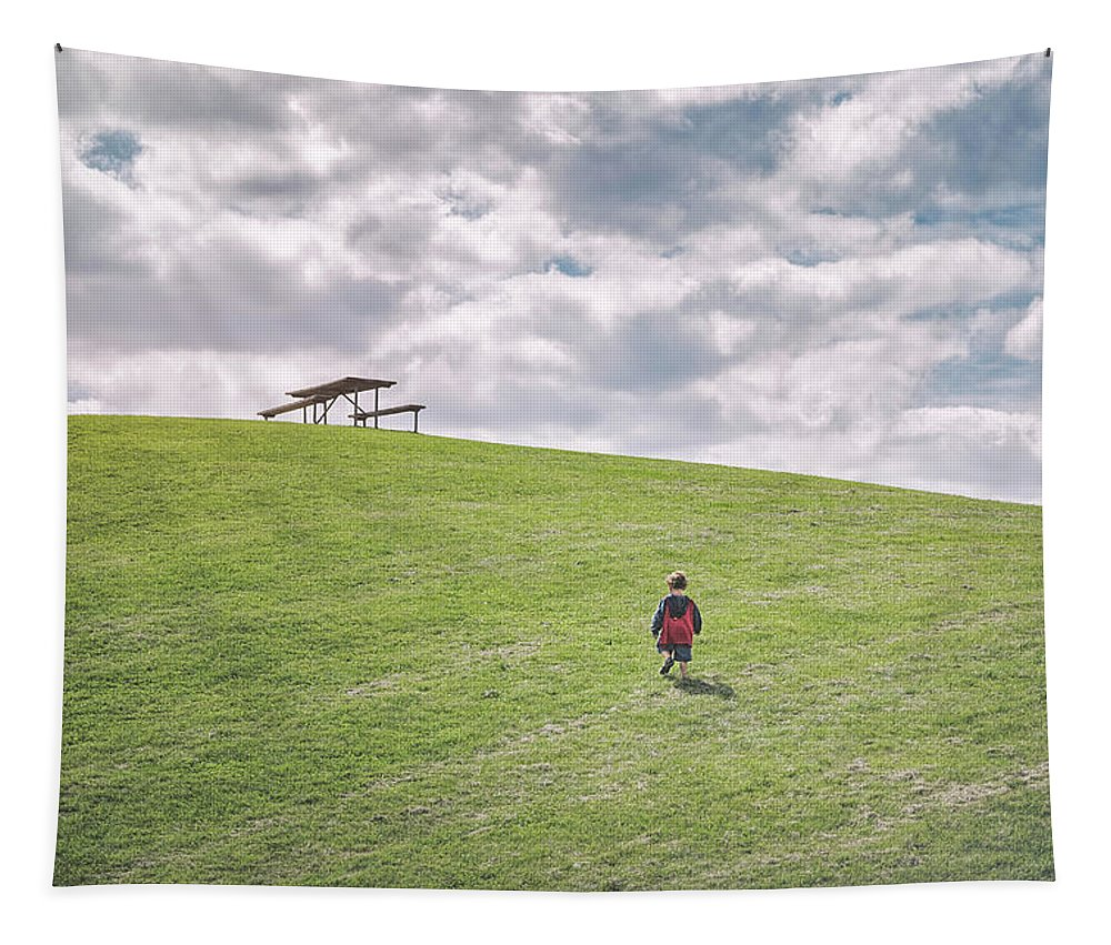 Superman Tapestry featuring the photograph Superman And The Big Hill by Scott Norris