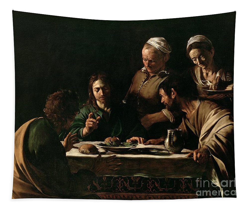 Supper At Emmaus Tapestry featuring the painting Supper At Emmaus by Michelangelo Merisi da Caravaggio
