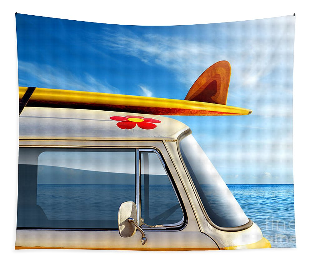 60ties Tapestry featuring the photograph Surf Van by Carlos Caetano