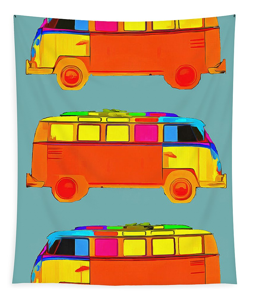 Surfer Tapestry featuring the photograph Surfer Vans by Edward Fielding