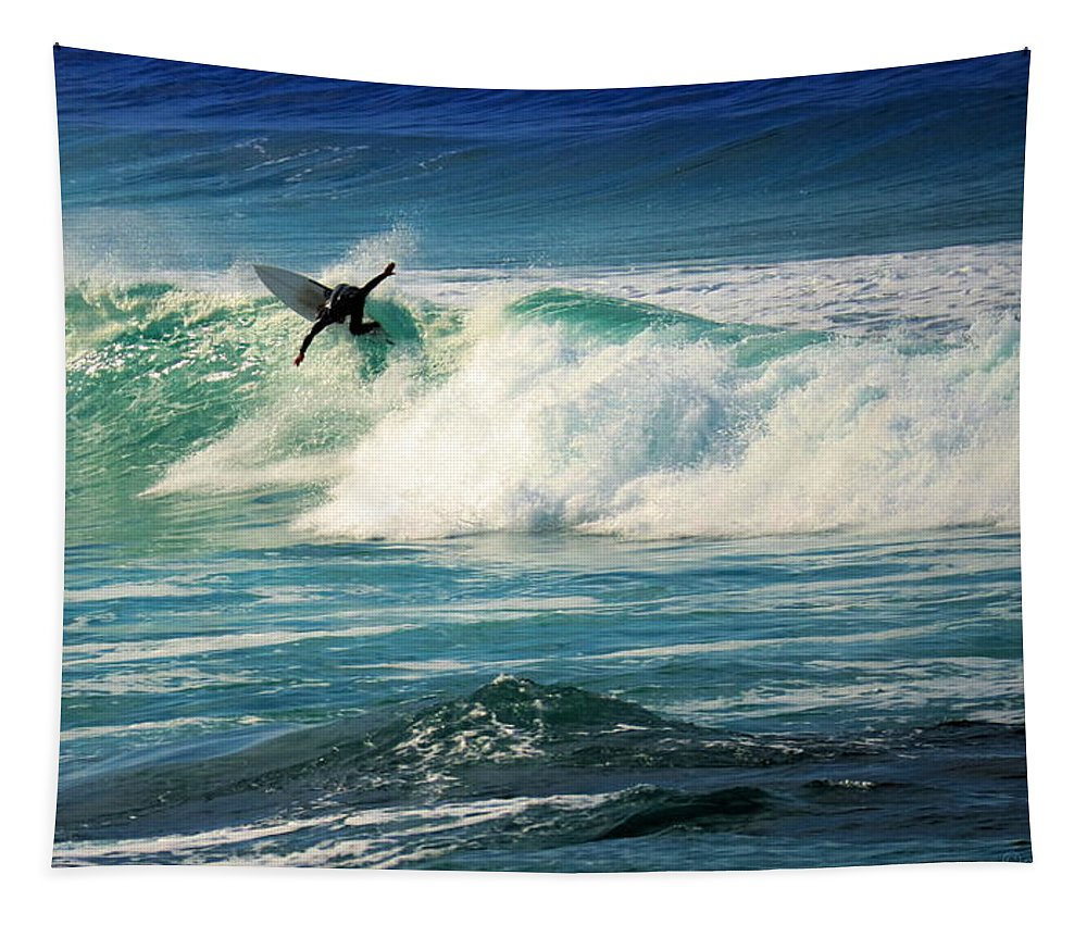 Surfing Tapestry featuring the photograph Surfing Asilomar Two by Joyce Dickens