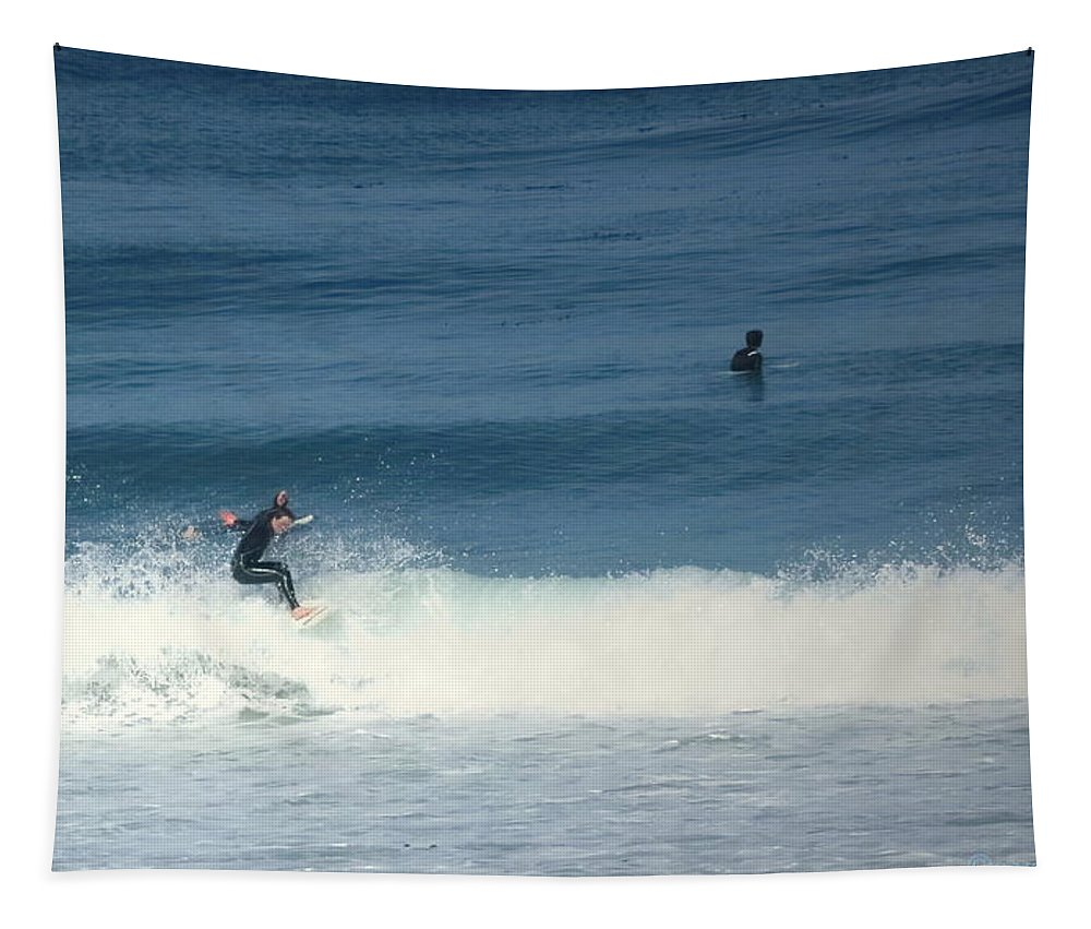 Surfing Tapestry featuring the photograph Surfing Carmel Beach Two by Joyce Dickens