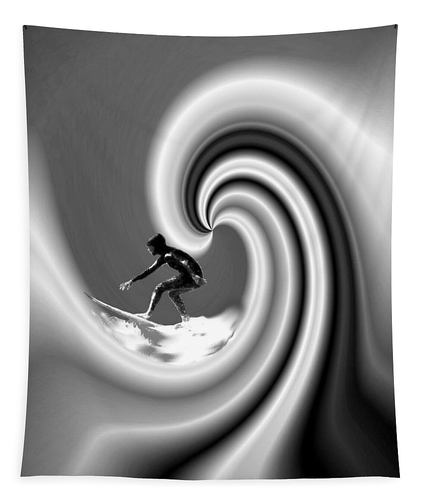 Surfers Tapestry featuring the photograph Surfing The Pacific In Black And White by Joyce Dickens
