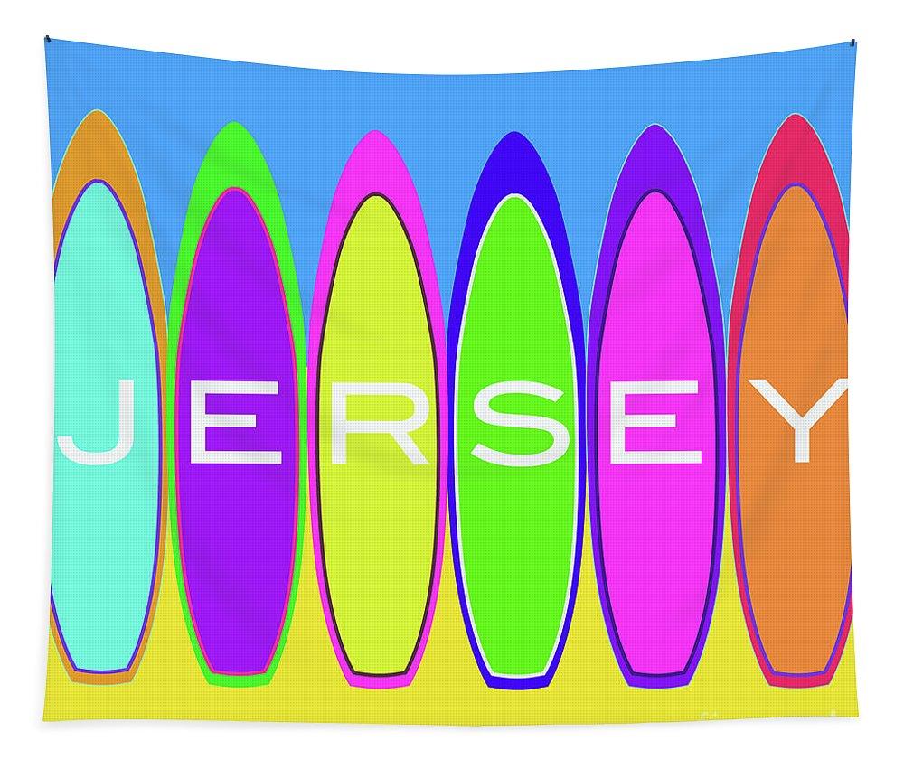 Jersey Tapestry featuring the digital art Surfs Up - Jersey by Barefoot Bodeez Art