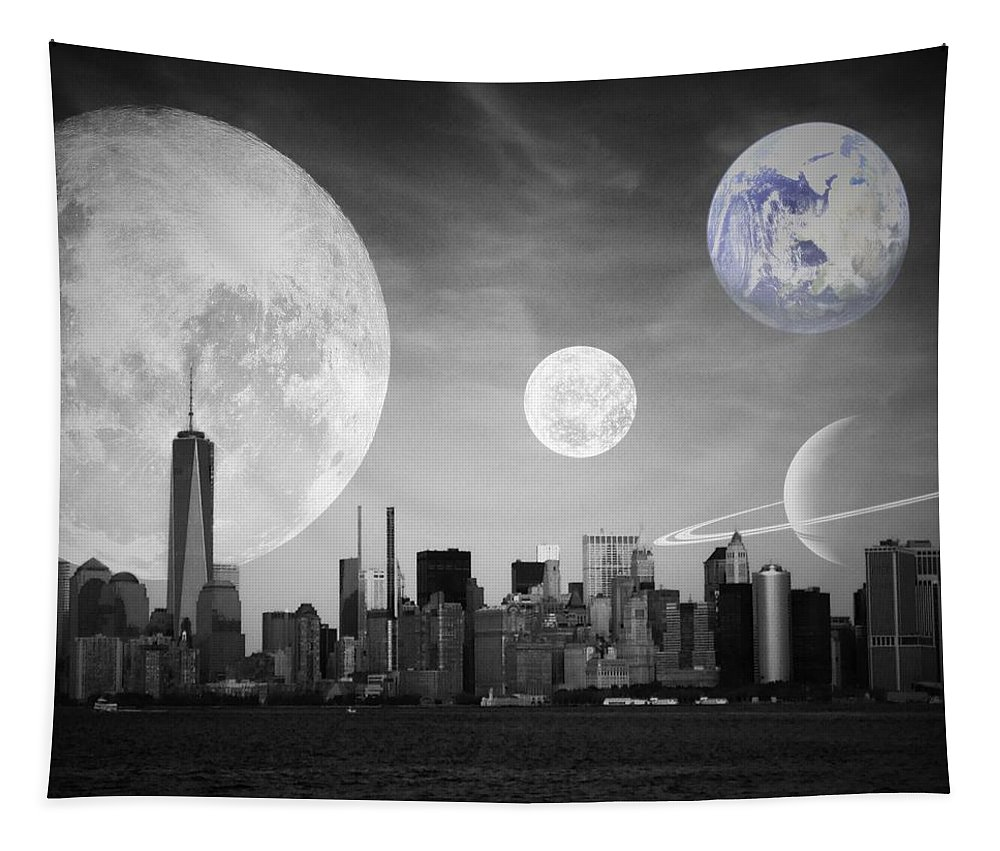 Surreal Tapestry featuring the photograph Surreal New York by Marianna Mills