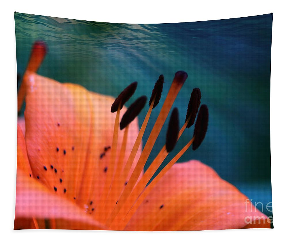Surreal Tapestry featuring the photograph Surreal Orange Lily by Carol Groenen
