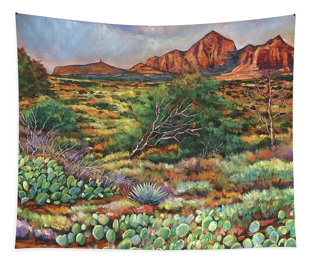 Arizona Desert Tapestry featuring the painting Surrounded By Sedona by Johnathan Harris