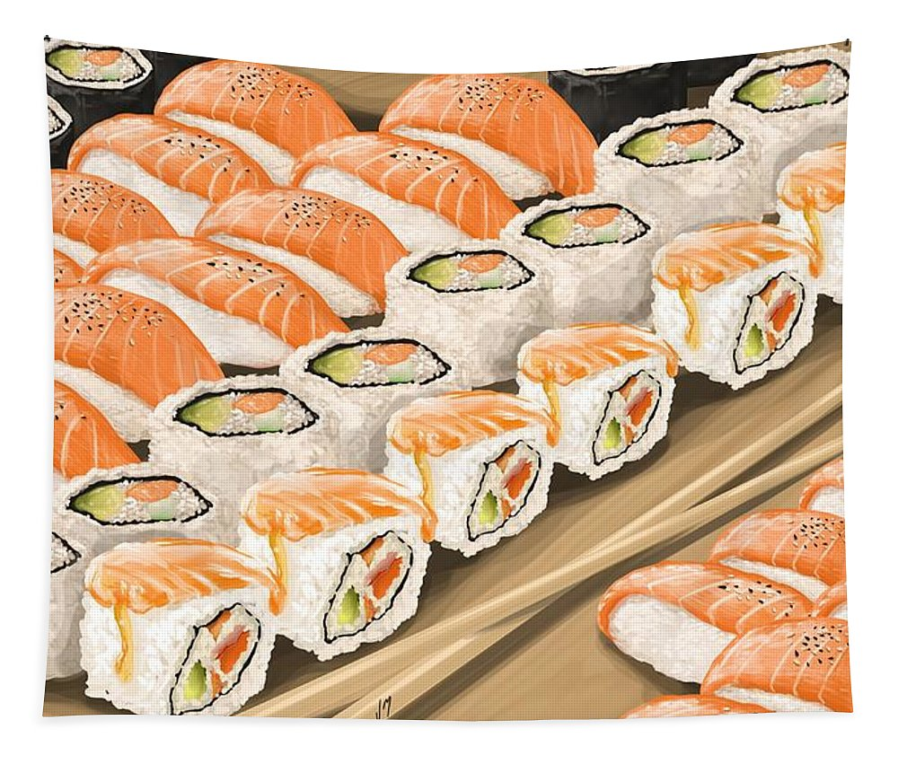Sushi Tapestry featuring the painting Sushi by Veronica Minozzi