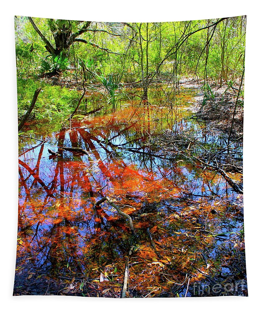 Water Tapestry featuring the painting Swamp Pallet by Alan Metzger