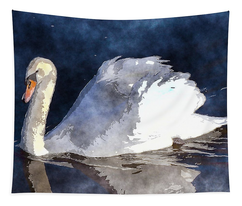 Swan Tapestry featuring the photograph Swan by David G Paul